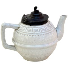 1860s Rare Victorian Small Salt Glazed White Ironstone Teapot with Pewter Lid