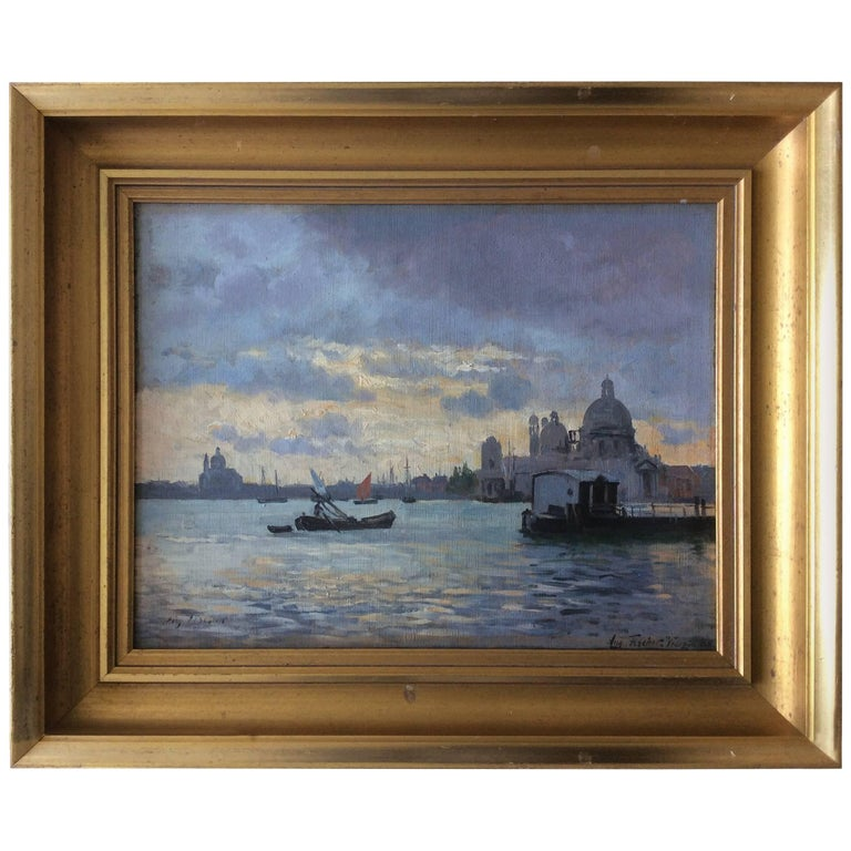 Venezia Painting by August Fischer, 1854-1921 For Sale