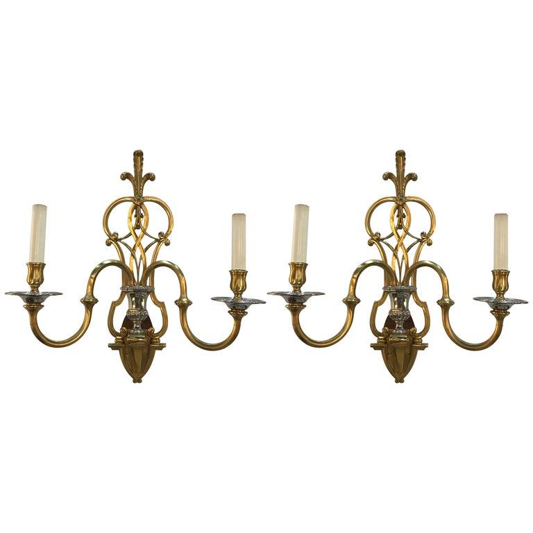 Fabulous Pair of Brass and Nickel 2 light Wall Sconces