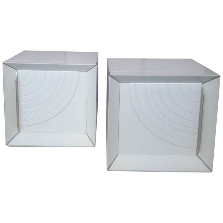 Pair of White Lacquered Wood Nightstands, 1970, Italy