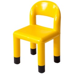 Yellow Plastic Child Chair, Vintage, Italy, 1980s