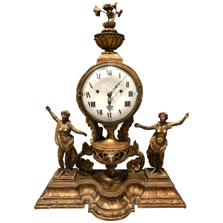 Italian 18th Century Giltwood Mantle Clock