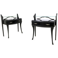 Pair of Black Lacquered Wood Nightstands with Glass Tops, Italy, 1950s