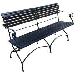 English Iron and Wood Folding Garden Bench