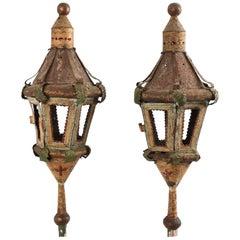Pair of Ancient Processional Lantern Lamp, Painted Sheet Metal Venice, 1700 Era