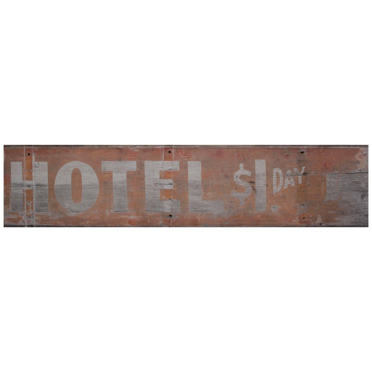Antique Wooden Hotel Sign