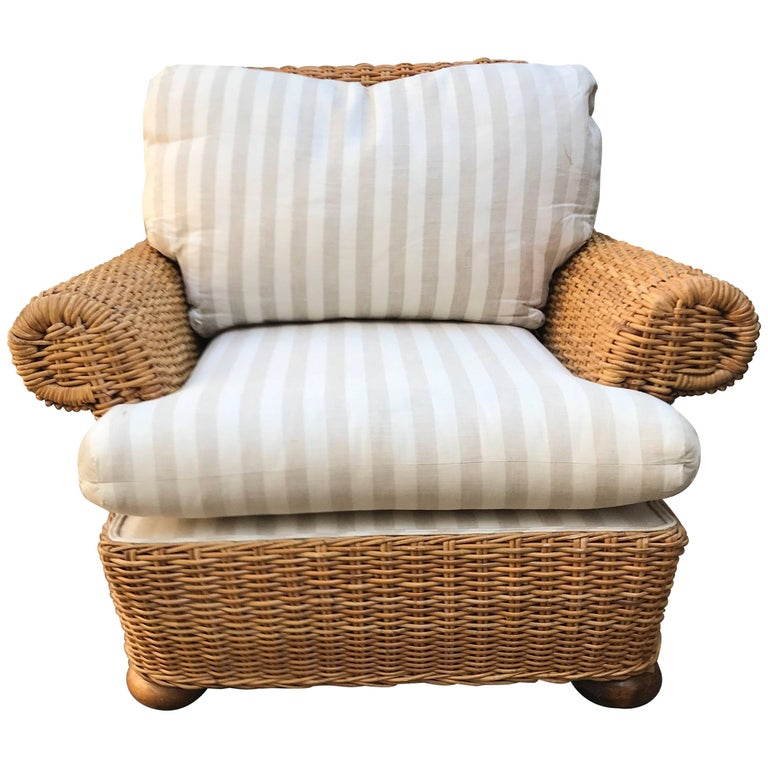 Michael Taylor Style Woven Wicker Rattan Lounge Chair