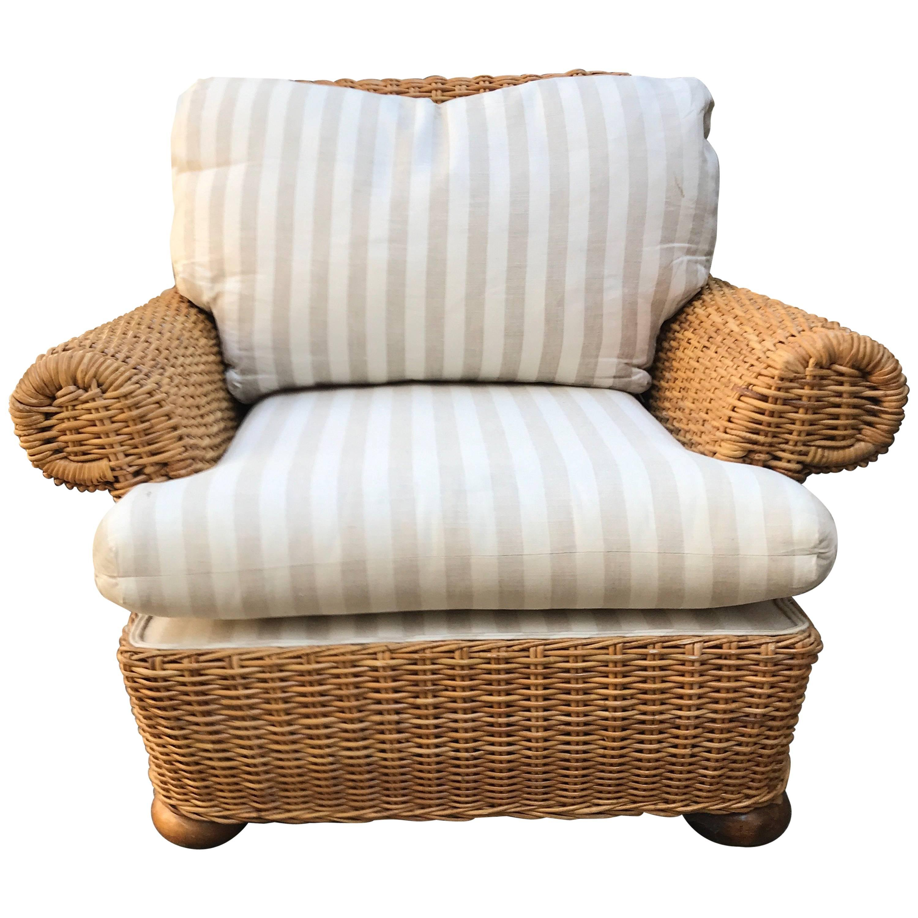 Amazing Michael Taylor Style Woven Wicker Rattan Lounge Chair With Rattan  Lounge