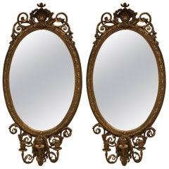 Large Antique Pair of Oval Gilt Girondole Mirrors