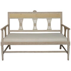 Swedish Settee with Floral Crest in the Gustavian Style