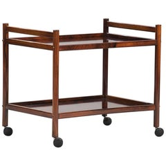 Midcentury Rosewood Scandinavian Serving Trolley