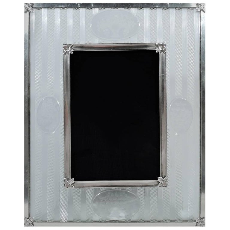 Antique Hawkes Edwardian Glass and Sterling Silver Picture Frame