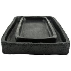 Two Contemporary Stoneware Trays with Black Silvery Glazes