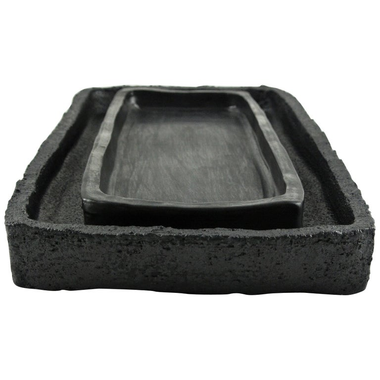Two Contemporary Stoneware Trays with Black Silvery Glazes For Sale