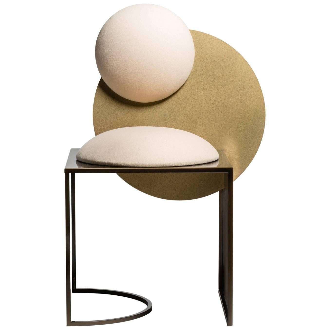 Celeste Chair In White Fabric And Metal, By Lara Bohinc, In Stock For Sale