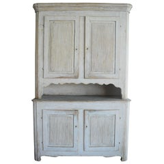 19th Century Gustavian Two Part Painted Cabinet from Sweden