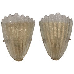 Pair of Murano Glass Shell Sconces