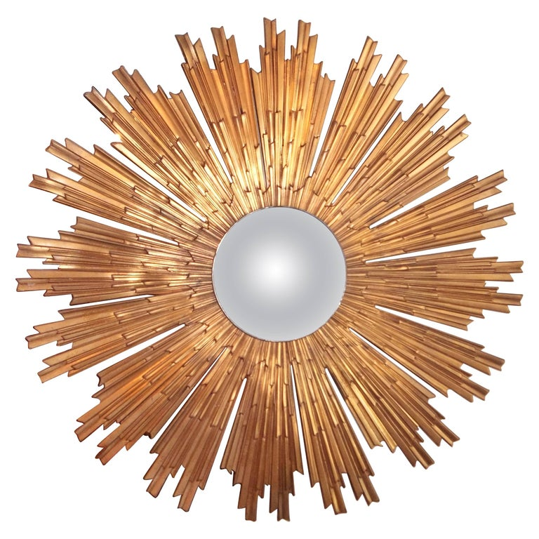 Large Louis XIV Style Gilt Bronze or Ormolu Sunburst with Convex Mirror For Sale