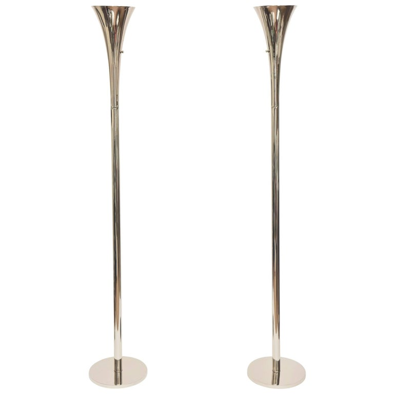 Pair of Midcentury Laurel Nickel Silver Torcheres/ Floor Lamps