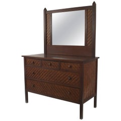 American Rustic Mission Dark Stained Oak Dresser with Mirror