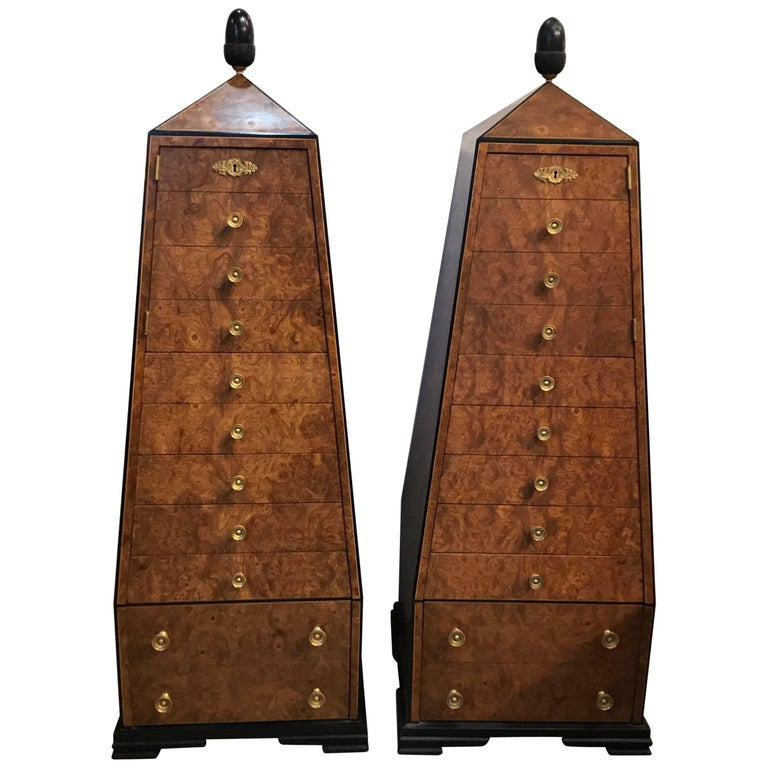 Pair of Walnut and Ebony Obelisk Cabinets