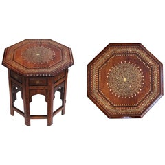 Intricately Designed Anglo-Indian Brass and Copper Octagonal Traveling Table