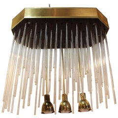 Italian Midcentury Chandelier or Flush Mount with Optic Lights