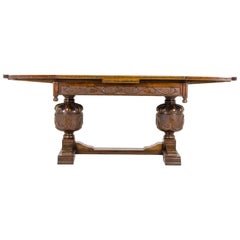 Antique Refectory Table, Vintage Dining Table, Farmhouse Table, Carved Oak