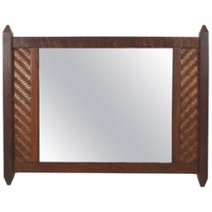 American Rustic Mission Dark Stained Oak Horizontal Wall Mirror