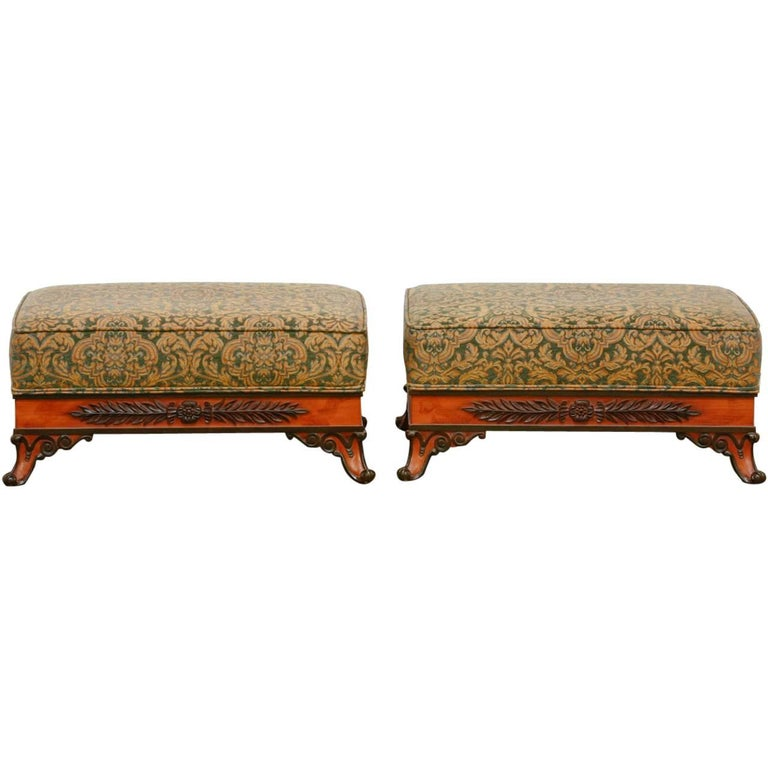 Pair of Italian Carved and Upholstered Ottoman Benches