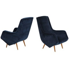 Pair of 1950s Italian Lounge Chairs by ISA Bergamo in Cobalt Blue Velvet