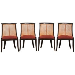 Set of Four James Mont Style Ebonized Dining Chairs