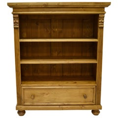 Pine Bookcase with Drawer