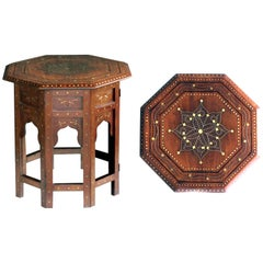 Detailed Brass and Pewter Inlaid Octagonal Anglo-Indian Traveling Table