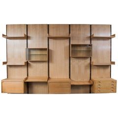 Large Gianfranco Frattini Oak Free Standing Wall Unit Bookcase for Bernini