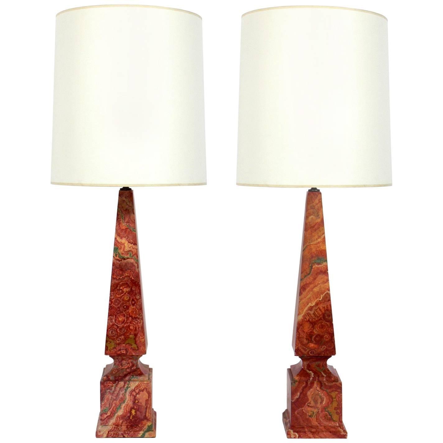 Pair of Faux Agate Obelisk Lamps