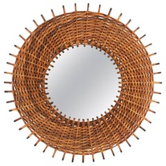 Vintage Spanish 1960s Braided Rattan and Wicker Round Sunburst Mirror