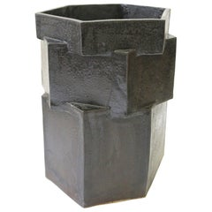 Extra Large Contemporary Ceramic Black Hexagon Planter