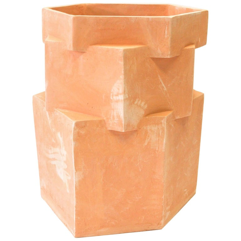 Extra Large Contemporary Ceramic Raw Terracotta Hexagon Planter For Sale