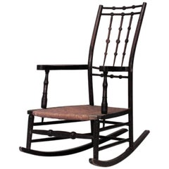American Shaker Stained Maple Rocking Chair with Spindle Design Back