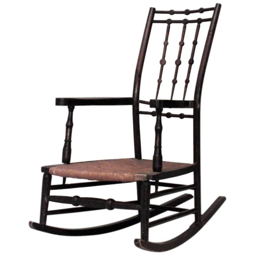 Marvelous American Shaker Stained Maple Rocking Chair With Spindle Design Back For  Sale
