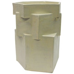 Extra Large Contemporary Ceramic Cream Hexagon Planter