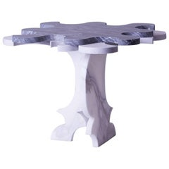 Contemporary Marble Carrera Puzzle Side Table