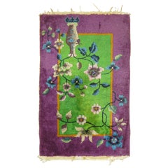 Chinese Art Deco Rug Mat in Bright Green and Purple
