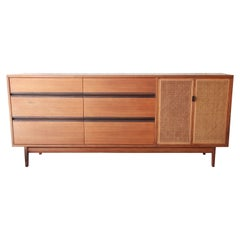 Kipp Stewart for Calvin Mid-Century Modern Walnut and Cane Dresser or Credenza