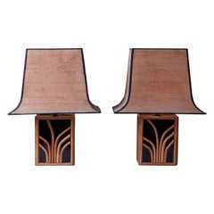 1970s Maison Jansen Bamboo Lacquer Lamps with Original Shades
