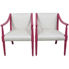 Restored Vintage Faux Bamboo Peony and Ostrich Club Chairs, Pair