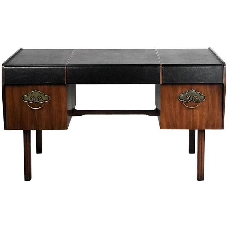 Bert England for John Widdicomb Leather Top Walnut Stilted Desk with Brass Pulls