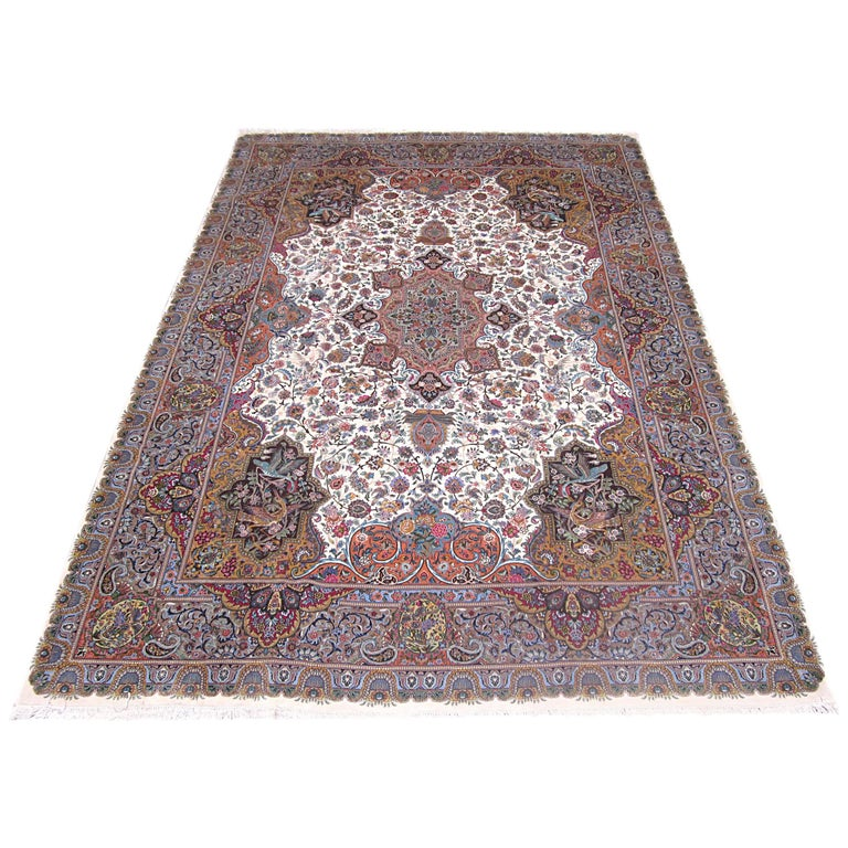 Persian Floral Medallion Hand-Knotted Tabriz Rug