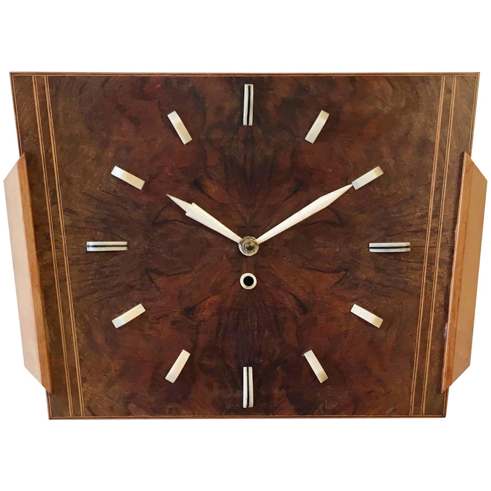 Art Deco Wooden Wall Clock